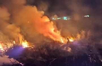 Bombeiros combatem incêndio que ameaçava casas às margens da BR 262