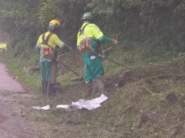 Mato em trevos da BR 262 são cortados para dar segurança aos motoristas