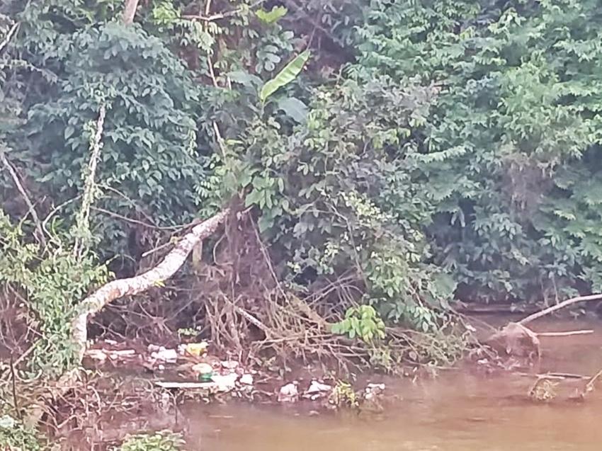 Lixo-lancado-em-rio-fica-represado-em-Marechal-Floriano